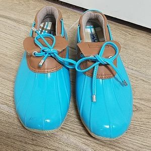 SPERRY DUCK RAIN SHOES BOOTS 8.5 BLUE SLIP ONS